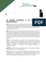 Al Pueblo Boliviano y La Comunidad Internacional