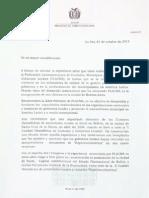 """Carta de postulación a Sucre como sede de la X Cumbre Hemisférica de Autoridades Locales """"ExperienciAmérica"""" en 2016."""