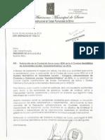 "Carta del alcalde Iván Arciénaga postulando a Sucre a la X Cumbre Hemisférica de Autoridades Locales ""ExperienciAmérica"" en 2016"