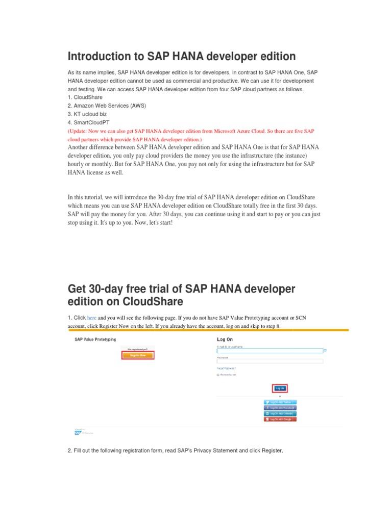 Introduction to SAP HANA Developer Edition | Sap Se | Cloud