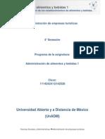 Unidad 1. Clasificacion de Los Establecimientos de Alimentos y Bebidas