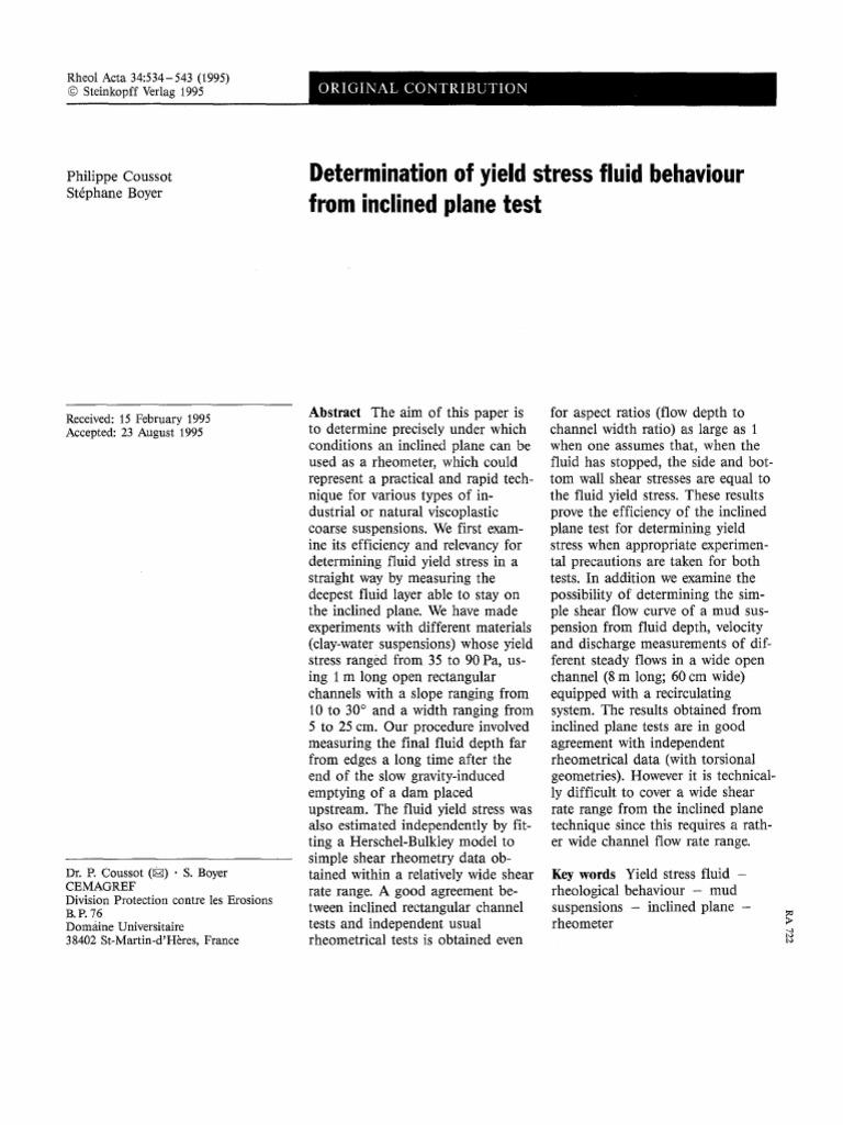 Determination of Yield Stress Fluid Behaviour From