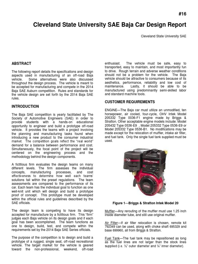 Baja SAE Auburn Design Report Cleveland State University 16