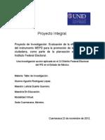 Evaluación de la eficacia del uso del instrumento MEPD para la promoción de la participación ciudadana.