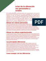 Las Diferencias de La Alineación Entre Valores Personales y Organizacionales