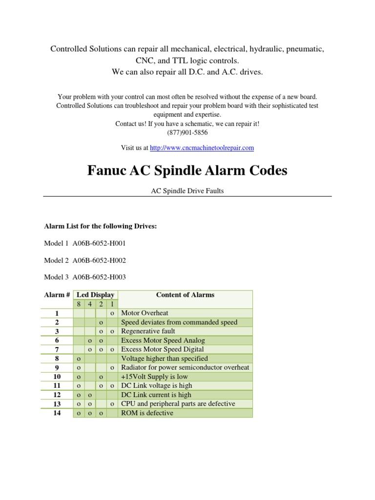 Fanuc AC Spindle Alarm Codes | Corriente alterna | Corriente continua