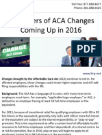 Reminders of ACA Changes Coming Up in 2016