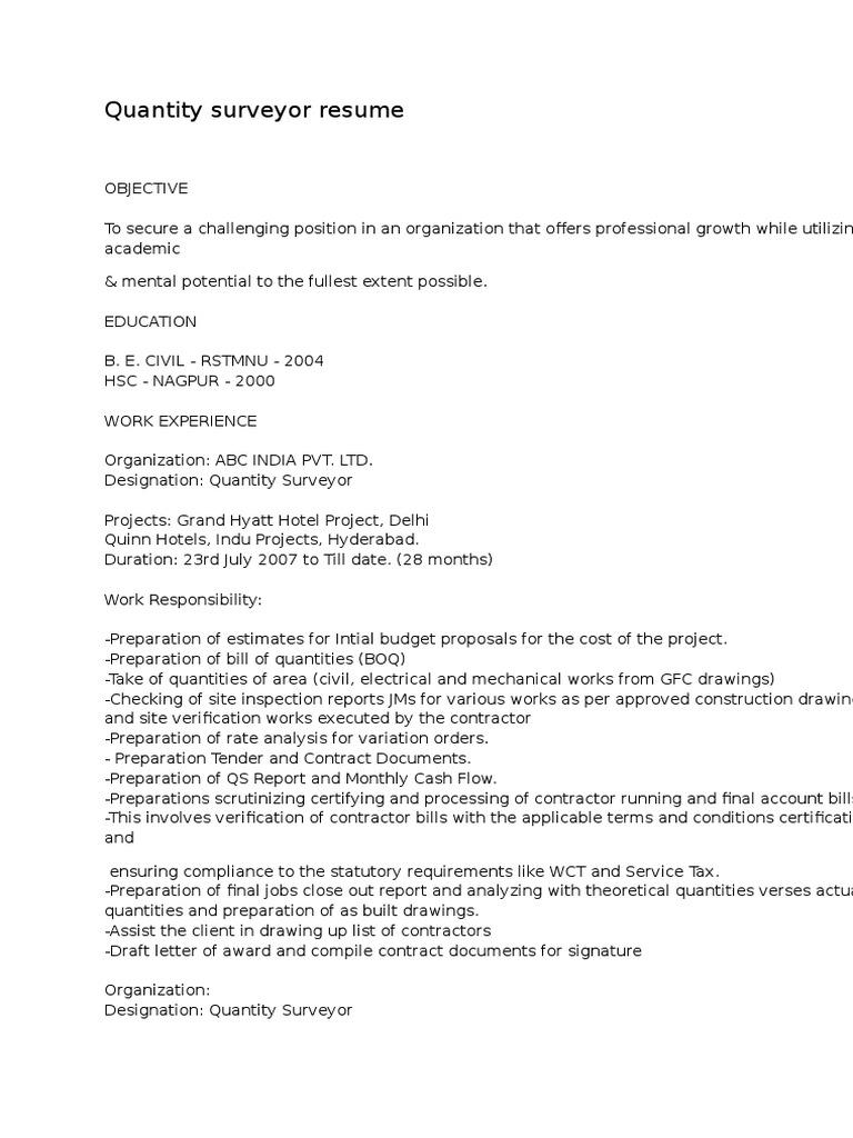 Schön Quantity Surveyor Lebenslauf Format Galerie - Beispiel ...