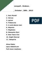 Setlist Moonspell , Krakov 26.10.2013