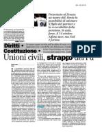Unioni civili, lo strappo del PD