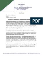 Marshall Islands letter to International Maritime Organization