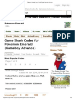 Pokemon Emerald Game Shark Codes, Gameboy Advance