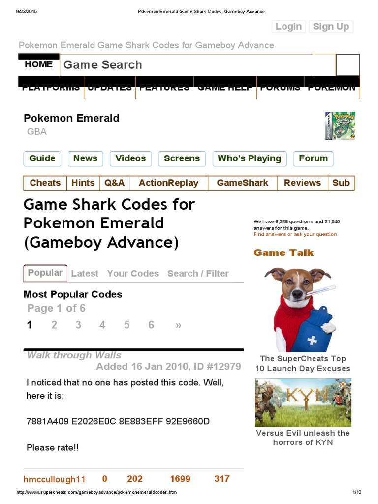 Pokemon Emerald Game Shark Codes, Gameboy Advance | Nintendo | Video