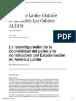 La Reconfiguración de La Colonialidad Del Poder y La Construcción Del Estado-nación en América Latina