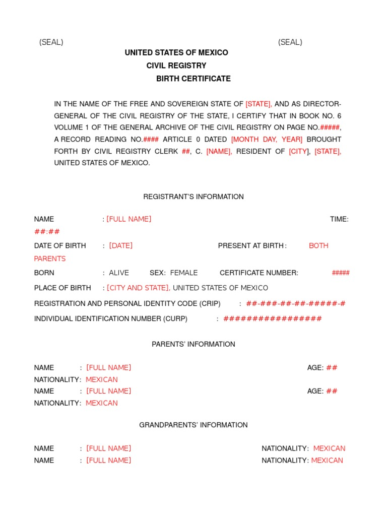 Mexican nl birth certificate translation for Mexican marriage certificate translation template