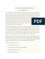 Business Sustainability Public Policy Course Outline 2015