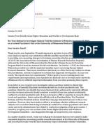 October 5, 2015 Letter to Senator Terri Bonoff