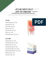 List of Drinks