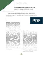 IDENTIFICACIÓN DE RIESGOS QUE AFECTAN A LA CONSTRUCCIÓN DE INFRAESTRUCTURAS