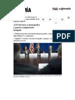 La Jornada- ATP Favorece a Monopolios y Genera Competencia Desigual