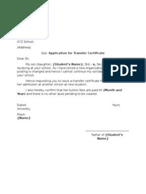 Sample Application Letter - School Transfer Certificate
