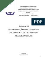 Relatório 05 - Determinação Da Constante de Velocidade Usando Um Reator Tubular