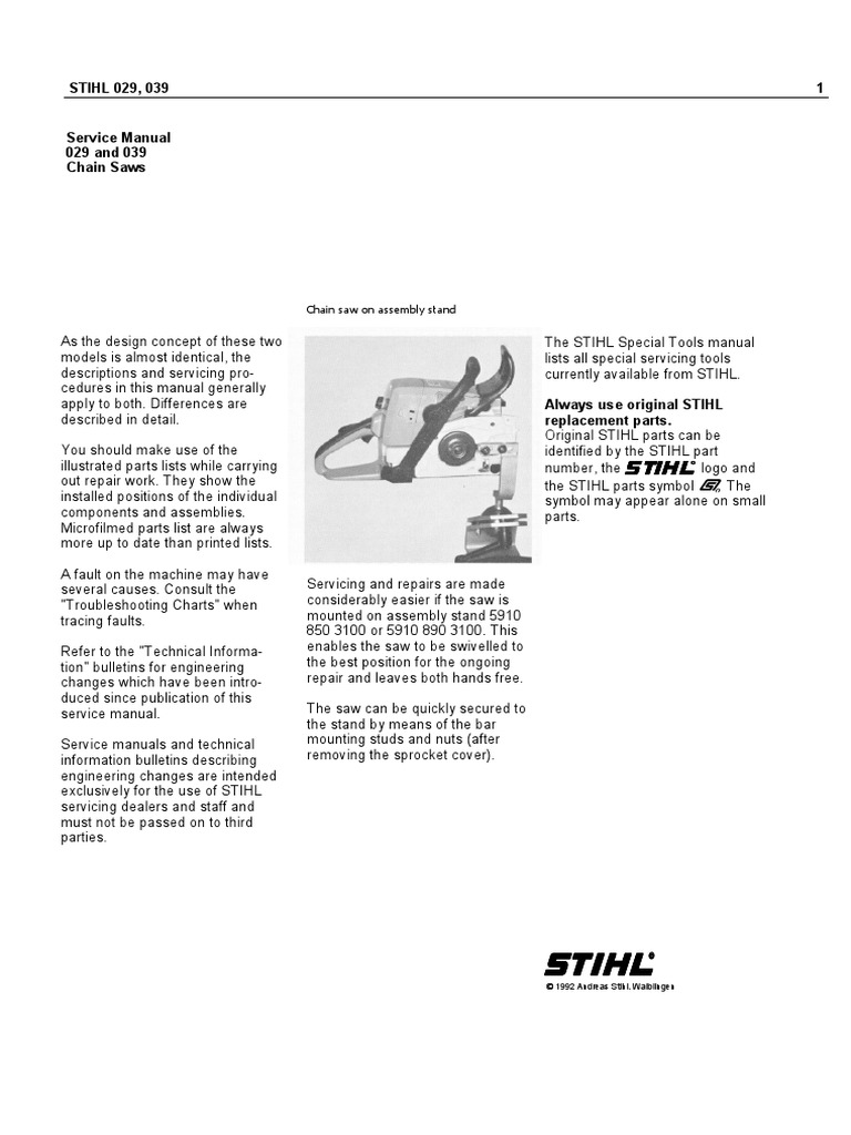 Stihl chain saw service manual models 029 and 039 | ignition.
