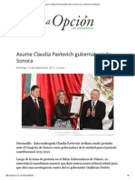 13 - 09 - 15 Asume Claudia Pavlovich Gubernatura de Sonora