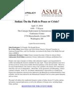 Sudan on the Path to Peace or Crisis Invitation