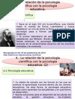 Relacion Entre Psicologia Cientifica y Educativa