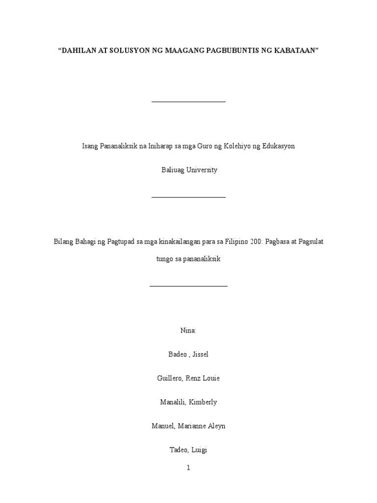thesis sa filipino 2 tungkol sa maagang pagbubuntis