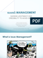 ISSUES MANAGEMENT by DR. Nina Handoko-Widodo, M.A., M.Sc. GAINING LEGITIMACY AND CREDIBILITY TO AVOID CRISIS
