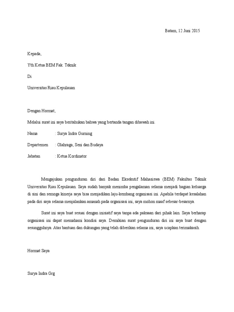 Contoh Surat Pengunduran Diri Dari Bem