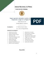 Seguros Agrícolas Indexados y Disposición a Pagar en La Región Piura 2012