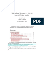 MSc in Pure Mathematics Course Handbook 2015 16
