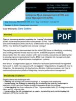 The Integration of Enterprise Risk Management (ERM) and Enterprise Performance Management (EPM). - By Compliance Global Inc.