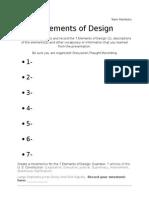 7 elements of design team sheet