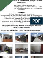 Dikontrakkan Rumah Di Perumahan Wijaya Kusuma Residence