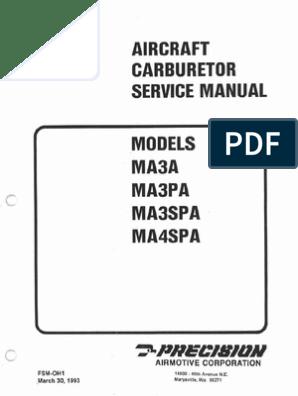 MSA Aircraft Carburetor Service Manual Models MA3A MA3PA