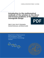 Introduction to the Mathematical Methods of the Solution to the Direct and Inverse Problems of the Optical Waveguide Design
