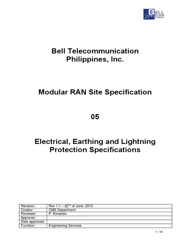 05 Electrical Earthing And Lightning Protection Specifications V1 Earth Pit Diagram V11 20100622 Cable Electric Power Distribution