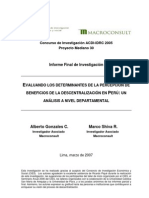Evaluando Los Determinantes de La Percepcion de Beneficios de La Descentralizacion en Peru Un Analisiss a Nivel Depart a Mental