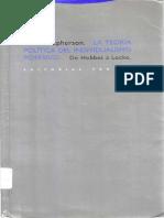MCPHERSON C B La Teoria Politica Del Individualismo Posesivo de Hobbes a Locke