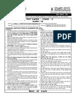 STaRT 2015 Sample Test Paper CLASS 9 Stage-II