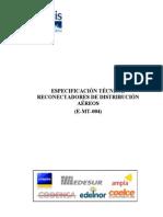 Especificación Reclosers (Reconectadores en Poste)