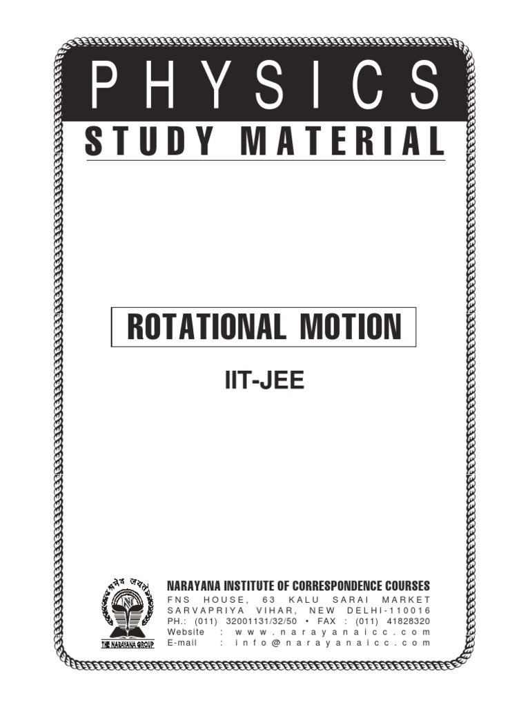 Iit Class Xi Phy Rotation Motion Own Editionpdf Around A Diagram011 Fixed Axis Angular Momentum