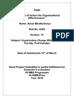 Organisation Effectivness & Changes