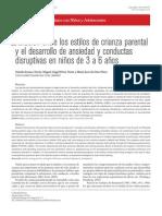 Relación entre los estilos de crianza parental y el desarrollo de ansiedad y conductas disruptivas en niños de 3 a 6 años