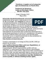 Asuntos Eticos, Practicos y Legales Handout 12
