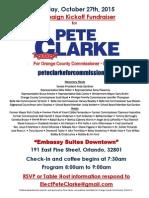 Pete Clarke Kickoff Fundraiser Invite